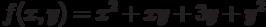 f(x,y)=x^2+xy+3y+y^2