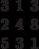 \begin{matrix}3&1&3\\2&4&8\\5&3&1\end{matrix}