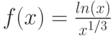 f(x)=\frac{ln(x)}{x^{1/3}}