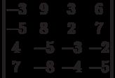 \begin{vmatrix}-3 & 9 & 3 & 6\\-5 & 8 & 2 & 7\\4 & -5 & -3 & -2\\7 & -8 & -4 & -5\\\end{vmatrix}