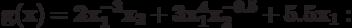 \bf{g(x) = 2 x_{1}^{-3}x_{2} + 3 x_{1}^{4}x_{2}^{-0.5} + 5.5 x_{1}:}