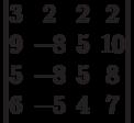 \begin{vmatrix}          3 & 2 & 2 & 2 \\          9 & -8 & 5 & 10 \\          5 & -8 & 5 & 8 \\          6 & -5 & 4 & 7          \end{vmatrix}