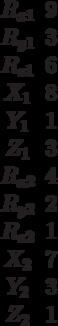 \begin{matrix}R_{x1}&9\\R_{y1}&3\\R_{z1}&6\\X_1&8\\Y_1&1\\Z_1&3\\R_{x2}&4\\R_{y2}&2\\R_{z2}&1\\X_2&7\\Y_2&3\\Z_2&1\end{matrix}