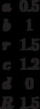 \begin {matrix}a&0.5\\b&1\\r&1.5\\c&1.2\\d&0\\R&1.5\end{matrix}