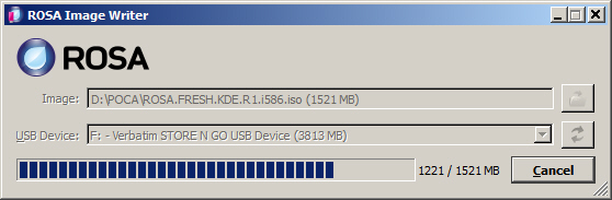Процесс записи ROSA Desktop Fresh R1 на USB-накопитель (флешку)