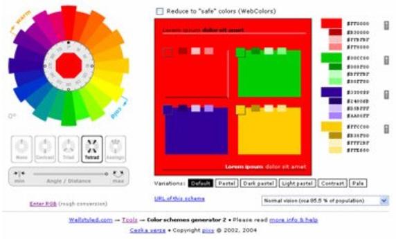 Тетрадическая цветовая схема в