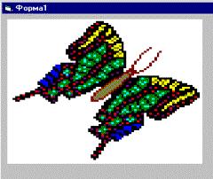 Бабочка машет крыльями