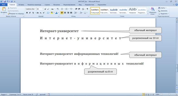 Использование разреженного интервала шрифта