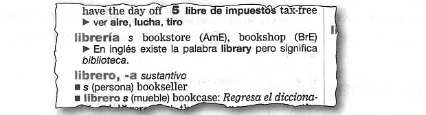 Entry for libreria from Diccionario Pocket (Pearson Education) for Latin American Spanish-speaking students of English