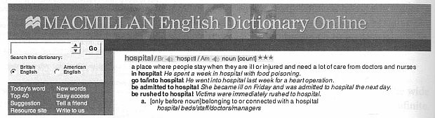Entry for hospital the Macmillian English Dictionary Online