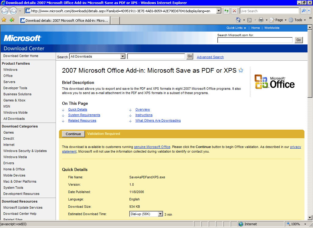 Pdf Or Xps Add-in From Microsoft