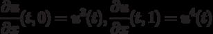 \[\frac{{\partial u}}{{\partial x}}(t,0) = {u^3}(t),{\rm{ }}\frac{{\partial u}}{{\partial x}}(t,1) = {u^4}(t)\]
