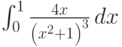 \int_0^1 \frac{4 x}{\left(x^2+1\right)^3} \, dx