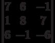 \begin{vmatrix}          7 & 6 & -1 \\          1 & 8 & 7 \\          6 & -1 & -6           \end{vmatrix}