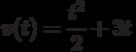 v(t)=\dfrac{t^2}{2}+3t