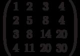 \left( \begin{array}{cccc}1 & 2 & 3 & 4 \\ 2 & 5 & 8 & 4 \\ 3 & 8 & 14 & 20 \\ 4 & 11 & 20 & 30%\end{array}%\right)
