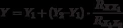 Y = Y_1 + (Y_2 – Y_1)\cdot\frac{R_{XX_1}}{R_{X_1 X_2}}