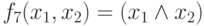 f_<7></noscript>(x_<1>,x_<2>)= (x_ <1>\wedge x_<2>)»/> — конъюнкция , читается » x<sub>1</sub> и x<sub>2</sub> » (используются также обозначения (x<sub>1</sub> & x<sub>2</sub>) , (x<sub>1</sub>x<sub>2</sub>) , min(x<sub>1</sub>,x<sub>2</sub>) и (x<sub>1</sub> AND x<sub>2</sub>) );</li> <li><img src=