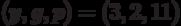 (y, g, p)=(3,2,11)