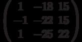 \left( \begin{array}{ccc}1 & -18 & 15 \\ -1 & -22 & 15 \\ 1 & -25 & 22%\end{array}%\right)