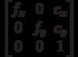 \begin{bmatrix}f_x & 0 & c_x \\0 & f_y & c_y \\0 & 0 & 1 \end{bmatrix}