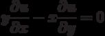 y\frac{\partial u}{\partial x}-x\frac{\partial u}{\partial y}=0