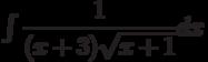 \int\dfrac{1}{(x+3)\sqrt{x+1}} dx