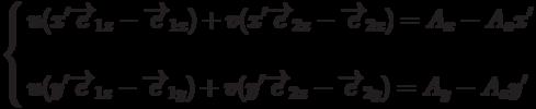 \left\{          \begin{aligned}          & u(x'\overrightarrow{e}_{1z}-\overrightarrow{e}_{1x})+v(x'\overrightarrow{e}_{2z}-\overrightarrow{e}_{2x})=A_x-A_z x' \\          \\          & u(y'\overrightarrow{e}_{1z}-\overrightarrow{e}_{1y})+v(y'\overrightarrow{e}_{2z}-\overrightarrow{e}_{2y})=A_y-A_z y'          \end{aligned}          \right.