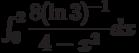 \int_{0}^{2} \dfrac{8(\ln 3)^{-1}}{4-x^2} dx