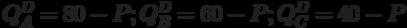 Q^D_A=80-P;Q^D_B=60-P;Q^D_C=40-P