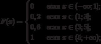 $$F(x)=\begin{cases}0 &\text{если $x \in (-\infty;1]$;}\\0,2 &\text{если $x \in (1;3]$;}\\0,6 &\text{если $x \in (3;5]$;}\\1 &\text{если $x \in (5;+\infty)$;}\\\end{cases}$$