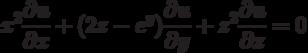 x^2\frac{\partial u}{\partial x}+(2z-e^y)\frac{\partial u}{\partial y}+z^2\frac{\partial u}{\partial z}=0