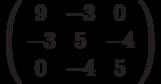 \left( \begin{array}{ccc}9 & -3 & 0 \\ -3 & 5 & -4 \\ 0 & -4 & 5%\end{array}%\right)