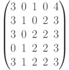 \begin{pmatrix}3 & 0 & 1 & 0 & 4\\3 & 1 & 0 & 2 & 3\\ 3 & 0 & 2 & 2 & 3\\ 0 & 1 & 2 & 2 & 3\\ 3 & 1 & 2 & 2 & 3\\ \end{pmatrix}