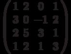 \left( \begin{array}{cccc}1 & 2 & 0 & 1 \\ 3 & 0 & -1 & 2 \\ 2 & 5 & 3 & 1 \\ 1 & 2 & 1 & 3%\end{array}%\right)