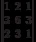 \begin{vmatrix}1 & 2 & 1 \\ 3 & 6 & 3 \\ 2 & 3 & 1 \end{vmatrix}