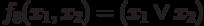 f_<8></noscript>(x_<1>,x_<2>)= (x_ <1>\vee x_<2>)»/> — дизъюнкция , читается » x<sub>1</sub> или x<sub>2</sub> » (используются также обозначения <img src=