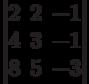 \begin{vmatrix}        2 & 2 & -1 \\        4 & 3 & -1 \\        8 & 5 & -3        \end{vmatrix}