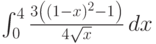 \int_0^4 \frac{3 \left((1-x)^2-1\right)}{4 \sqrt{x}} \, dx