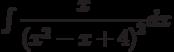 \int \dfrac { x}{\left(x^2-x+4\right)^2} dx