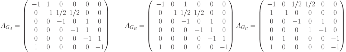 A_{G_A}= \begin{pmatrix}  &-1 &1 &0& 0& 0& 0\\ &0 &-1 &1/2 &1/2 &0 &0\\ &0 &0 &-1 &0 &1 &0 \\ &0 &0 &0 &-1 &1 &0\\ &0 &0 &0 &0 &-1 &1\\ &1 &0 &0 &0 &0 &-1 \end{pmatrix} \qquad A_{G_B}= \begin{pmatrix}  &-1 &0 &1& 0& 0& 0\\ &0 &-1 &1/2 &1/2 &0 &0\\ &0 &0 &-1 &0 &1 &0 \\ &0 &0 &0 &-1 &1 &0\\ &0 &0 &0 &0 &-1 &1\\ &1 &0 &0 &0 &0 &-1 \end{pmatrix} \\ A_{G_C}= \begin{pmatrix}  &-1 &0 &1/2& 1/2& 0& 0\\ &1 &-1 &0 &0 &0 &0\\ &0 &0 &-1 &0 &1 &0 \\ &0 &0 &0 &1 &-1 &0\\ &0 &1 &0 &0 &0 &-1\\ &1 &0 &0 &0 &0 &-1 \end{pmatrix}