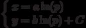 \left\{ \begin{array}{ll}x=a\ln(p)\\y=b\ln(p)+C\end{array} \right