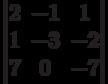 \begin{vmatrix}          2 & -1 & 1 \\          1 & -3 & -2 \\          7 & 0 & -7           \end{vmatrix}
