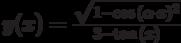 y(x)=\frac{\sqrt{1-\cos{(\alpha \cdot  x)^2}}}{3-\tan{(x)}}