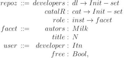 \begin{array}{rcrl}         repoz & :: = & developеrs :& dl \to Init - set \\         &&catalR:& cat \to Init - set \\         &&role :& inst \to facet \\         facet &:: = &autors:& Milk \\         &&title :& N \\         user &:: = &developer :& Itn \\       &&free :& Bool,         \end{array}