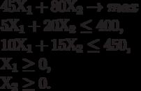 45 Х_1 + 80 Х_2 \to max\ 5 Х_1 + 20 Х_2 \le 400,\ 10 Х_1 + 15 Х_2 \le 450,\ Х_1 \ge 0,\ Х_2 \ge 0.