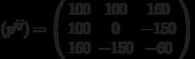({p^{ij}}) = \left( {\begin{array}{*{20}{c}}   {100} & {100} & {160}  \\   {100} & 0 & { - 150}  \\   {160} & { - 150} & { - 60}  \\\end{array}} \right)