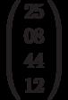 \left( \begin{array}{cccc} 25 \\ 08 \\44 \\ 12 \end{array} \right)