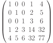 \left( \begin{array}{ccccc}1 & 0 & 0 & 1 & 4 \\ 0 & 1 & 0 & 2 & 5 \\ 0 & 0 & 1 & 3 & 6 \\ 1 & 2 & 3 & 14 & 32 \\ 4 & 5 & 6 & 32 & 77%\end{array}%\right)