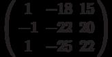 \left( \begin{array}{ccc}1 & -18 & 15 \\ -1 & -22 & 20 \\ 1 & -25 & 22%\end{array}%\right)